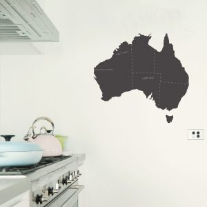 australia chalkboard map wall decal
