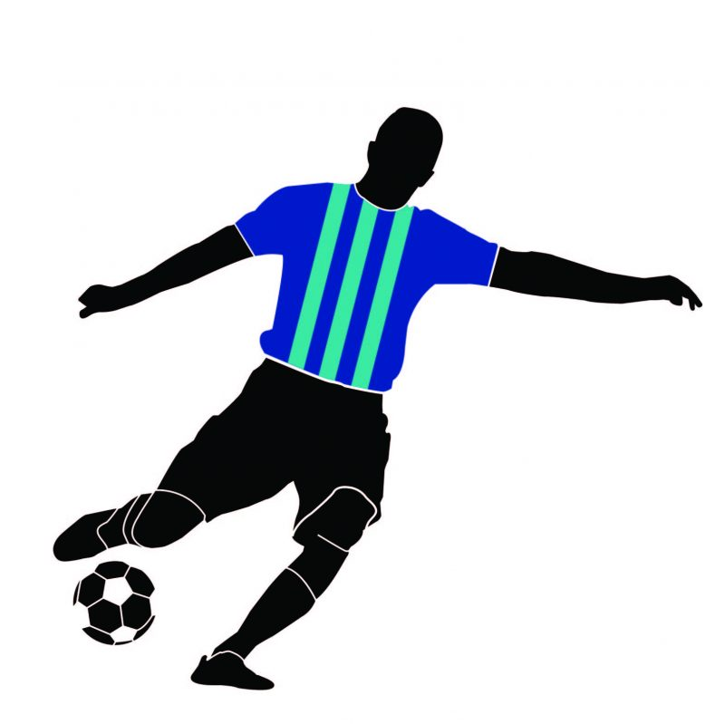 striped top football player wall decal