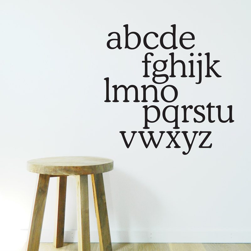 monochrome alphabet wall decal