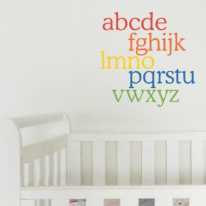 alphabet wall sticker rainbow coloured alphabet wall decal