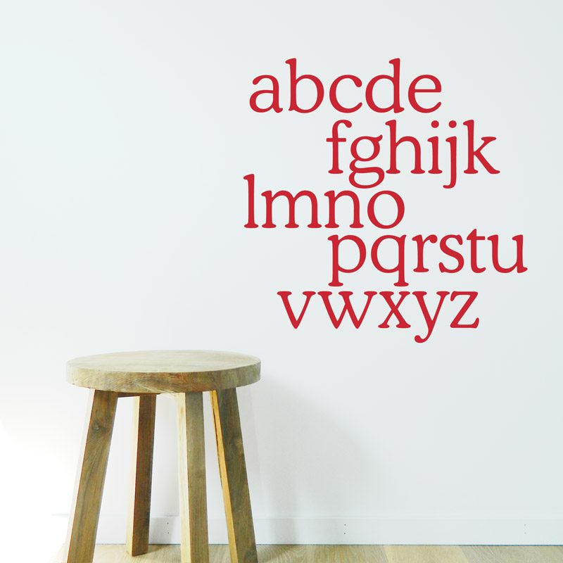 red alphabet wall decor