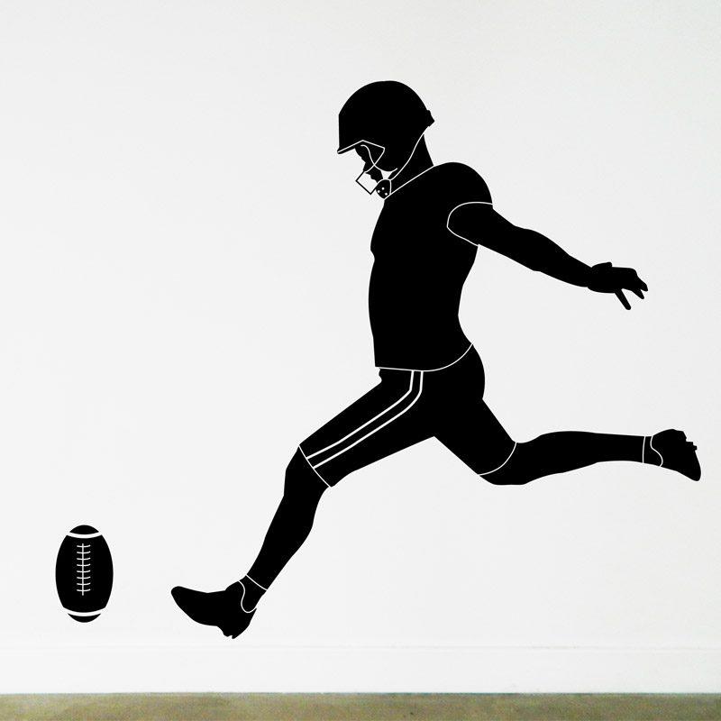 grid iron player kick ball wall decal