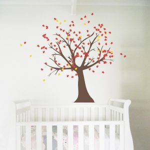 tree wall sticker nursery red leaves