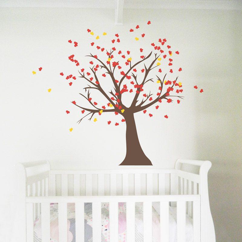 tree wall sticker nursery red leaves