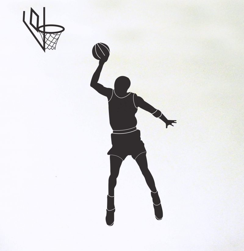 black basketball player wall decal with hoop