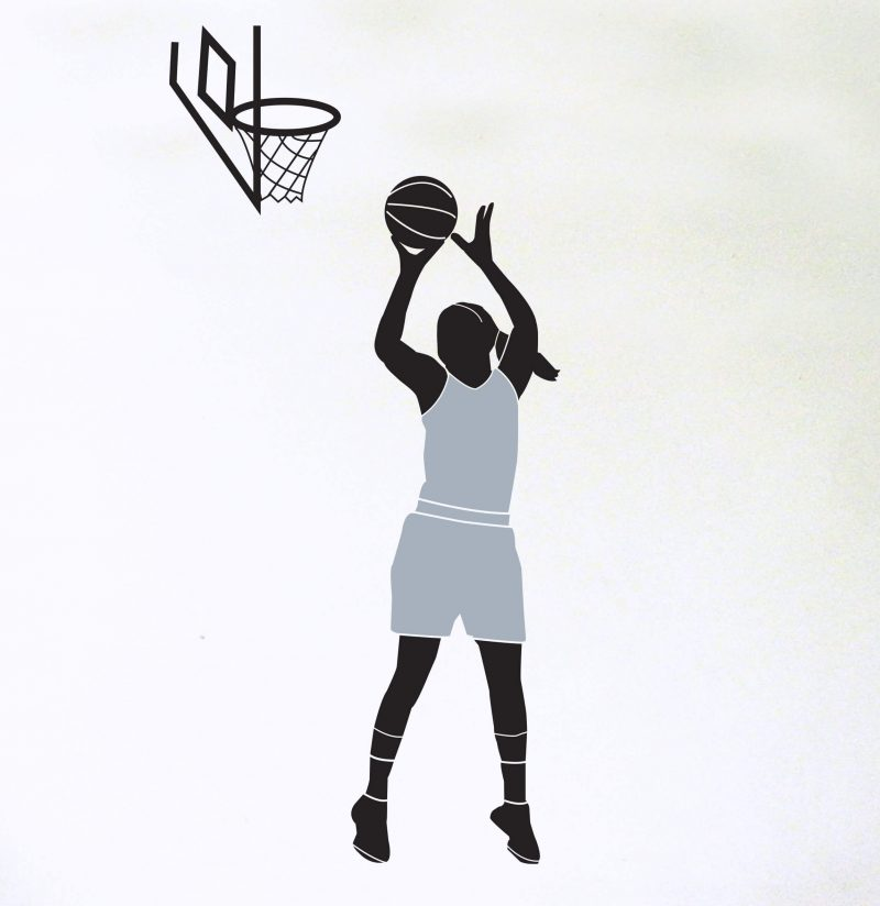 female basketball player wall decal with hoop custom top