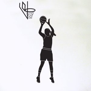 female basketball player with hoop wall decal