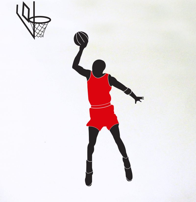 basketball player wall decal with red top and hoop