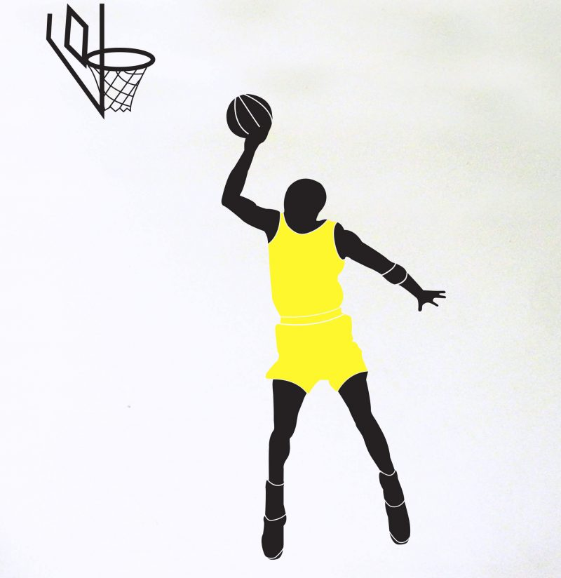 basketball player decal with yellow top and hoop