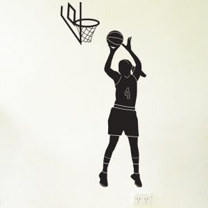 basketball player hoop female wall sticker