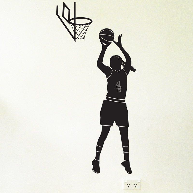 basketball player hoop female wall sticker