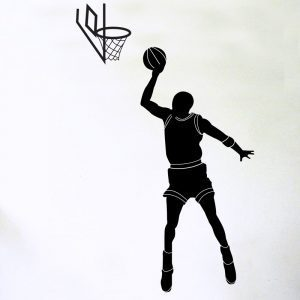 basketballer shooting hoop wall sticker