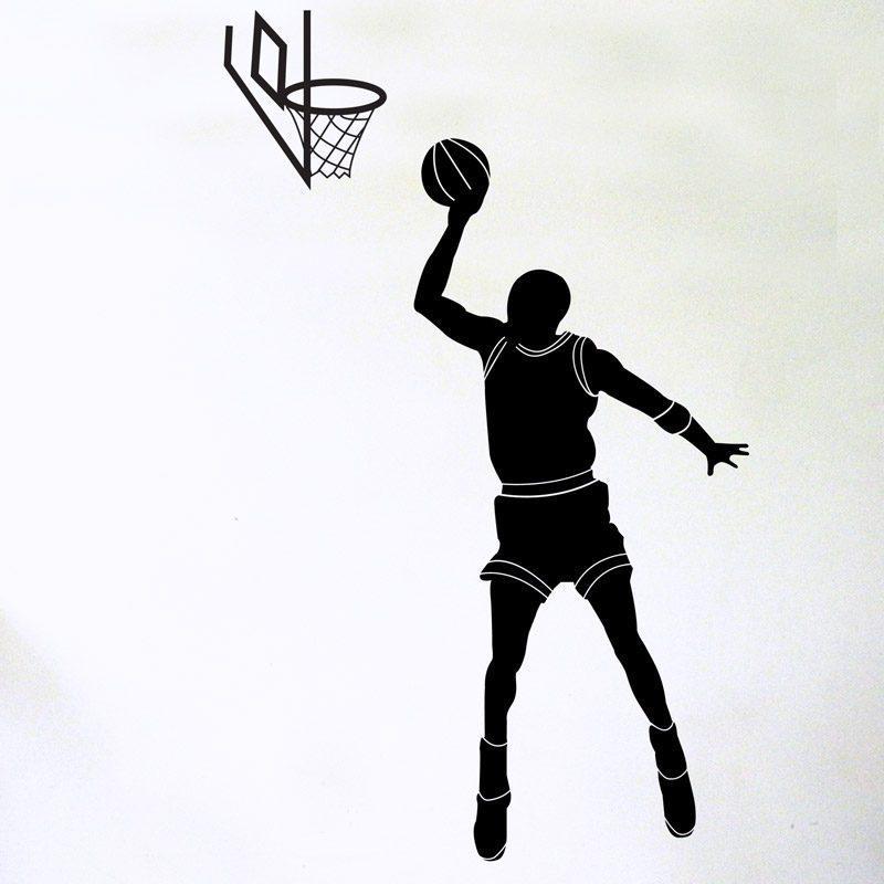 basketballer shooting hoop wall sticker