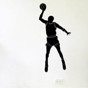 basketball player shooting hoops wall decal