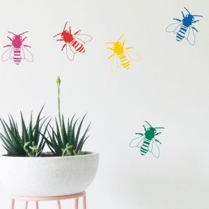 bee wall stickers rainbow coloured bee wall decals
