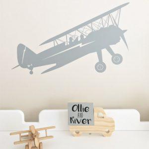 transport biplane wall sticker boys bedroom