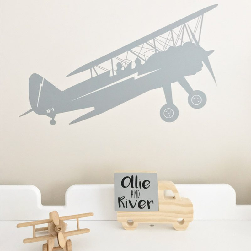 transport biplane wall sticker boys bedroom