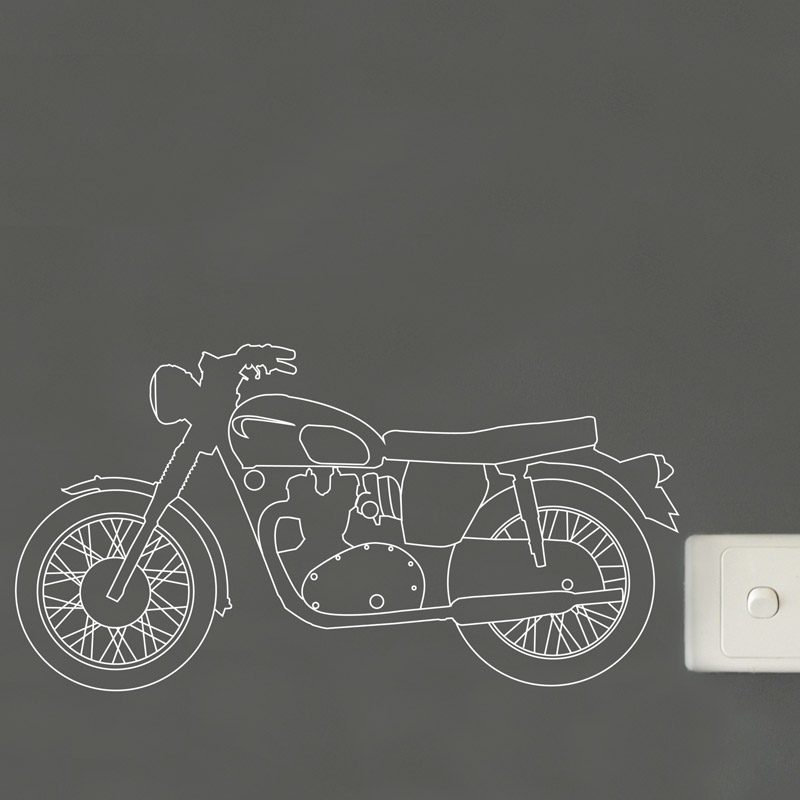 Vintage Motorcycle Outline Wall Sticker Made In Australia