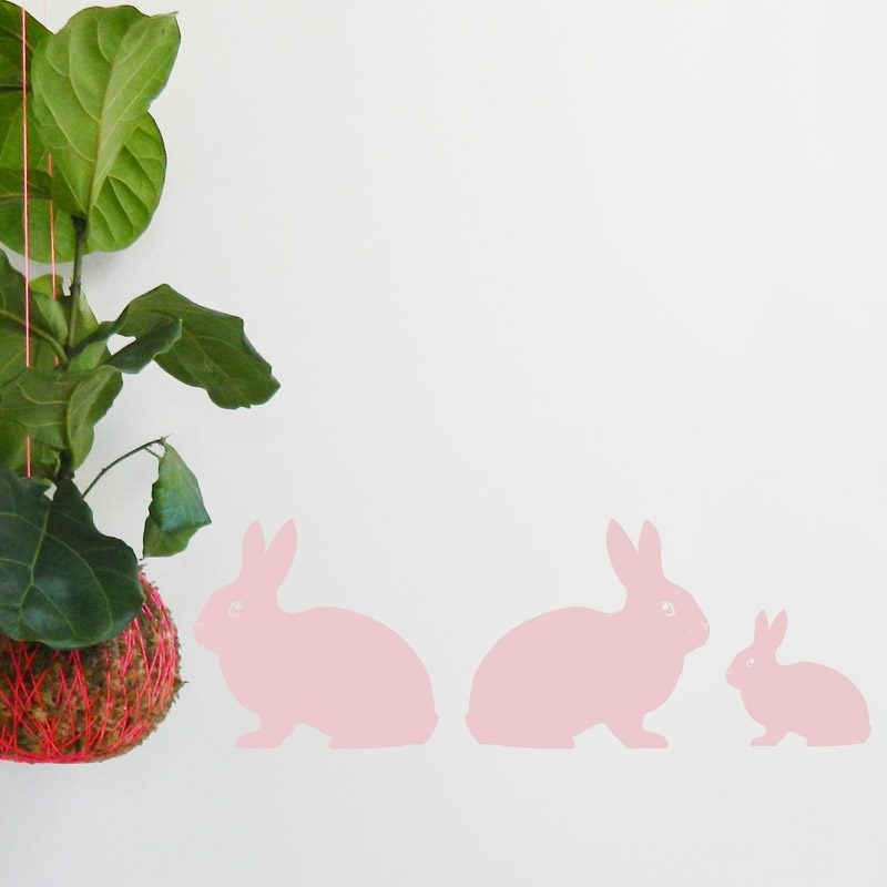 pink rabbit family wall stickers