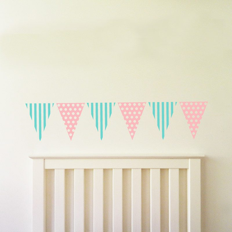 bunting wall sticker bedroom bunting decal stripes