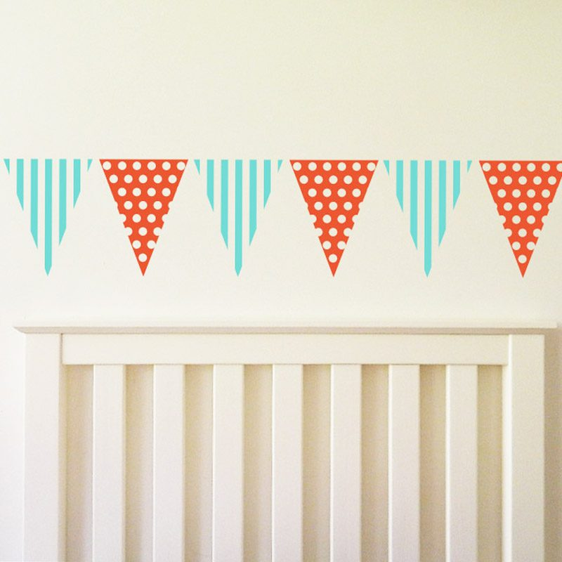 bedroom bunting decal spots