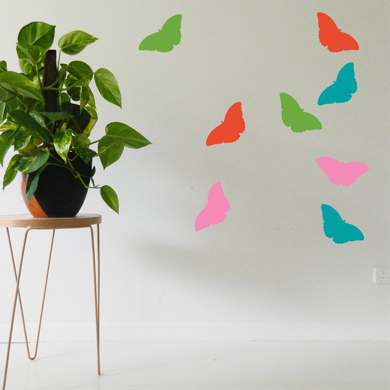 large butterflies wall decals pink turquoise green orange