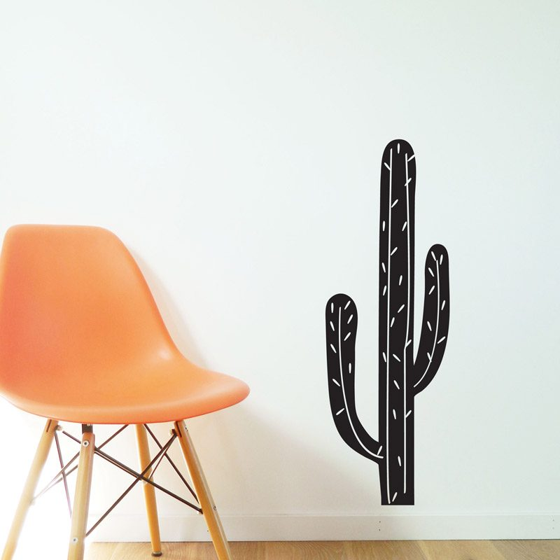 monochrome plant wall decal