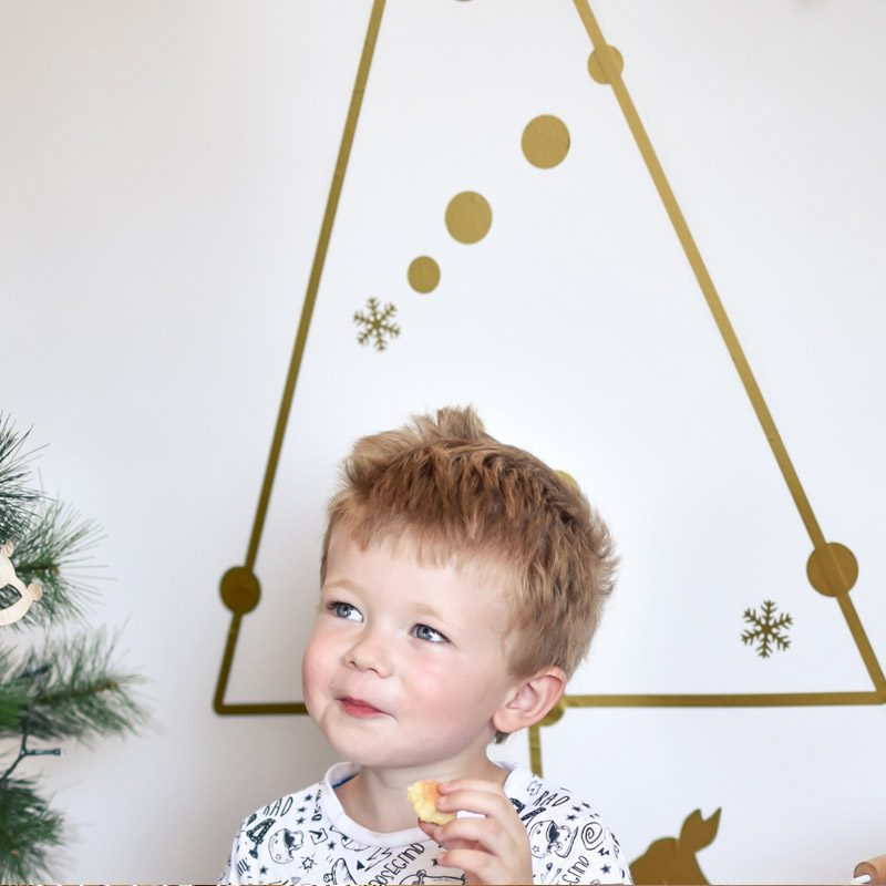 gold christmas tree wall decal