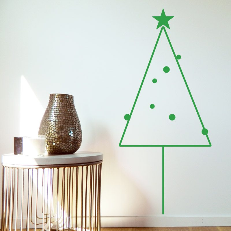 removable minimalist christmas tree wall decal