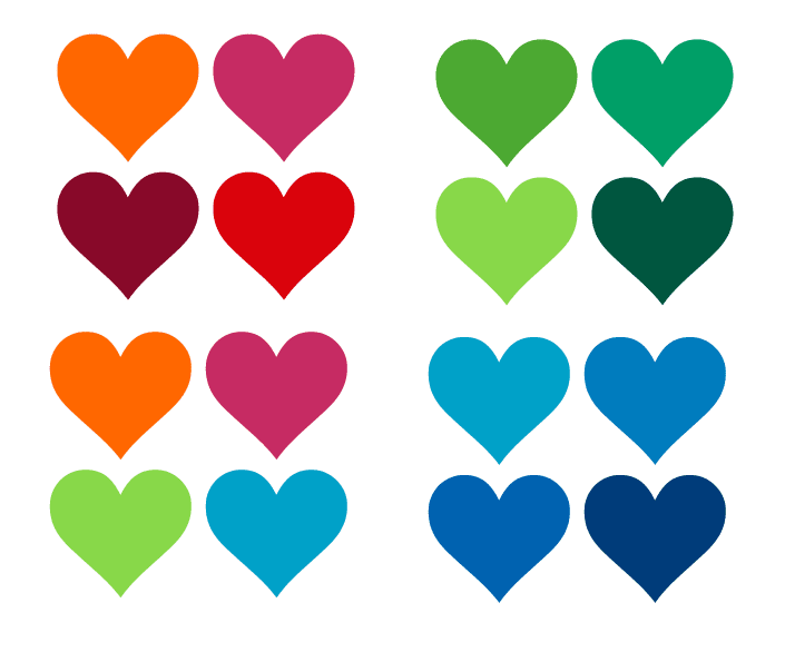 colourful heart wall stickers