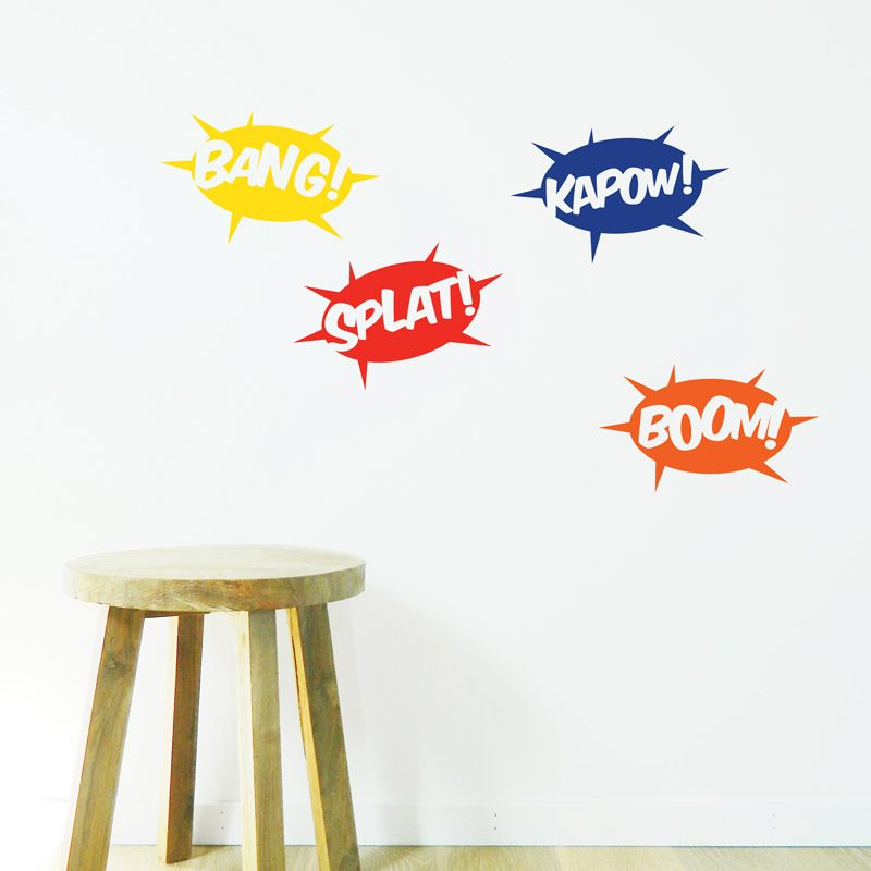 comic sounds wall sticker splat kapow bang boom wall decals