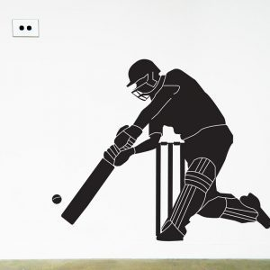 cricket batsman wall decal