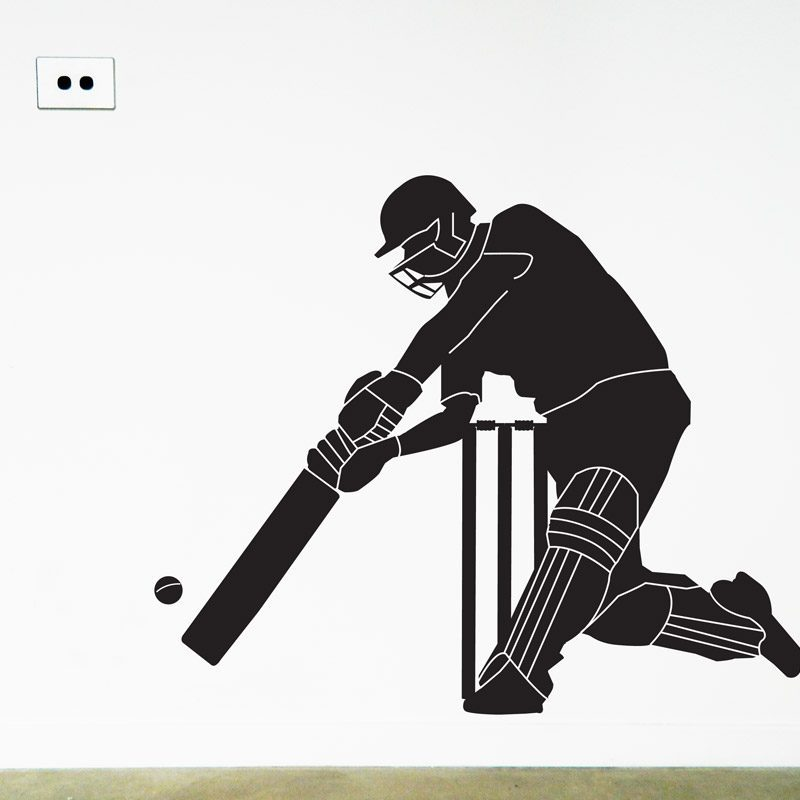 cricketer wall sticker cricket batsman wall decal