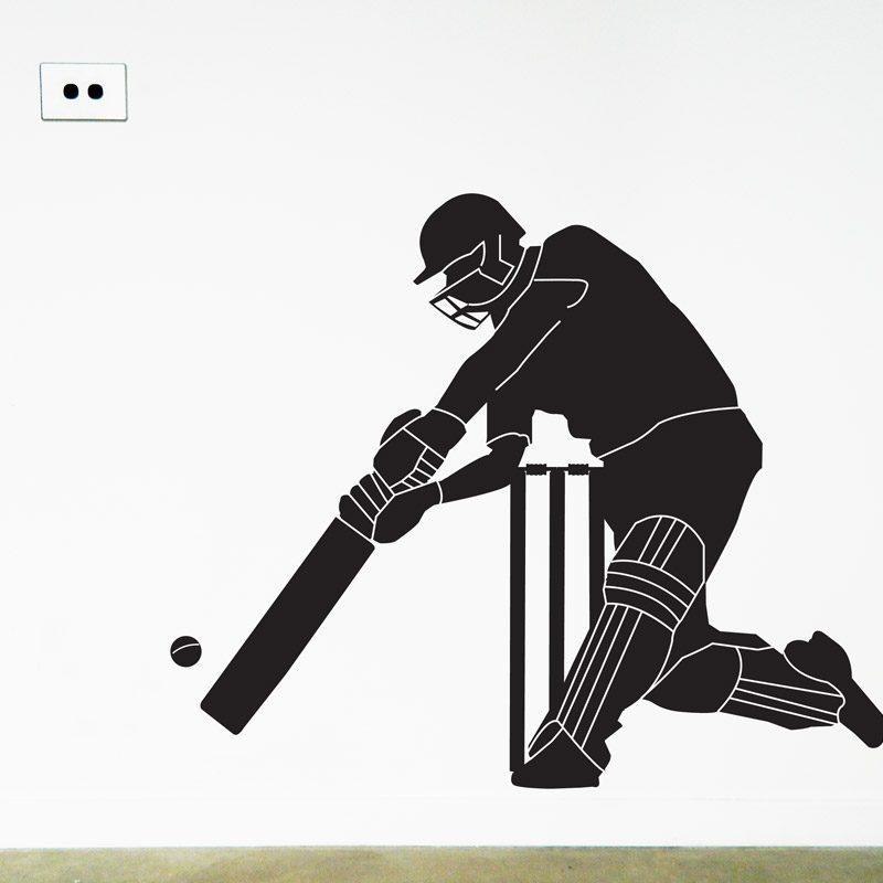 cricketer wall sticker cricket batsman wall decal