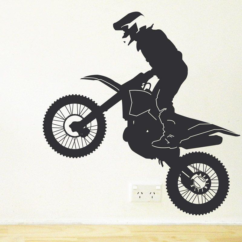 trial bike rider wall decal