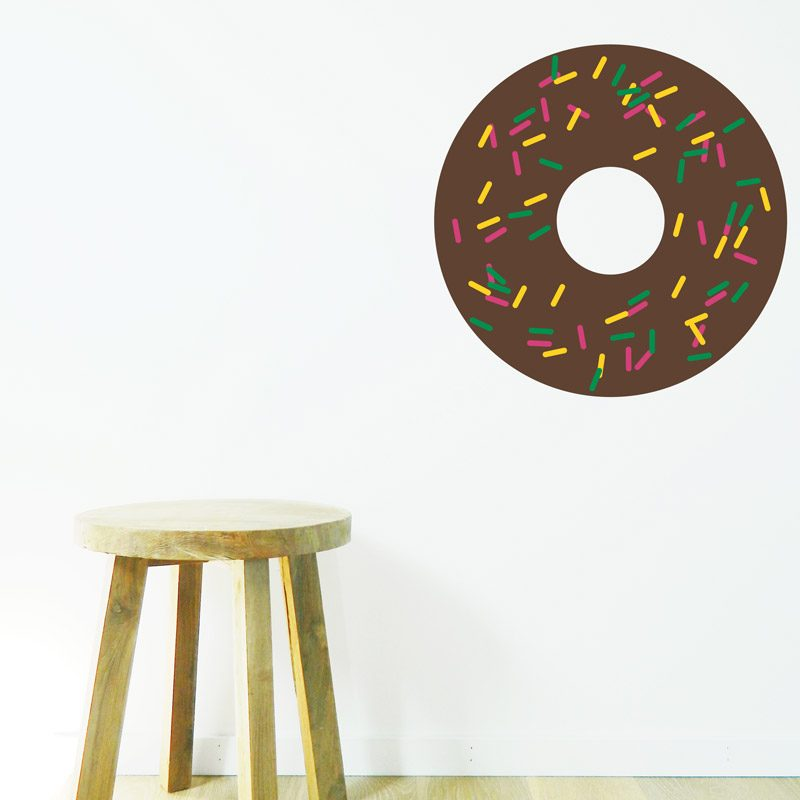 chocolate donut with sprinkles bedroom wall
