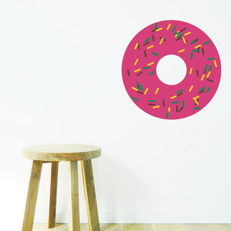 Doughnut Wall Sticker strawberry donut with sprinkles wall decor