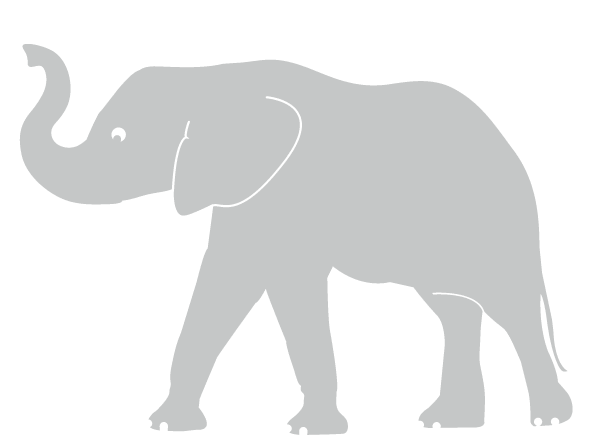 elephant trunk up wall sticker grey