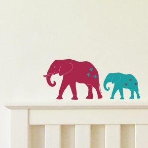 Elephants wall stickers adult and baby