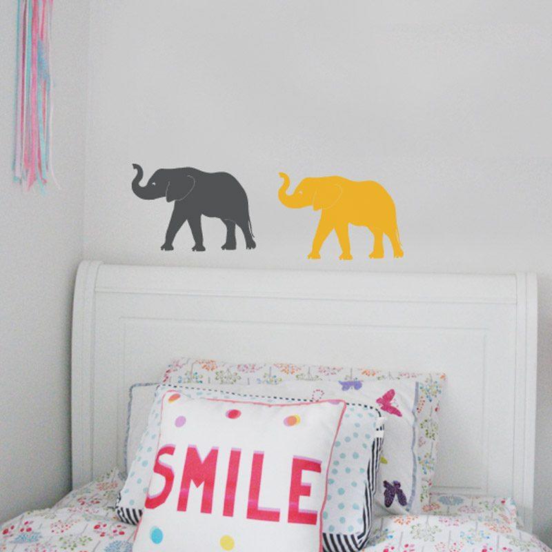 elephants trunk up wall stickers