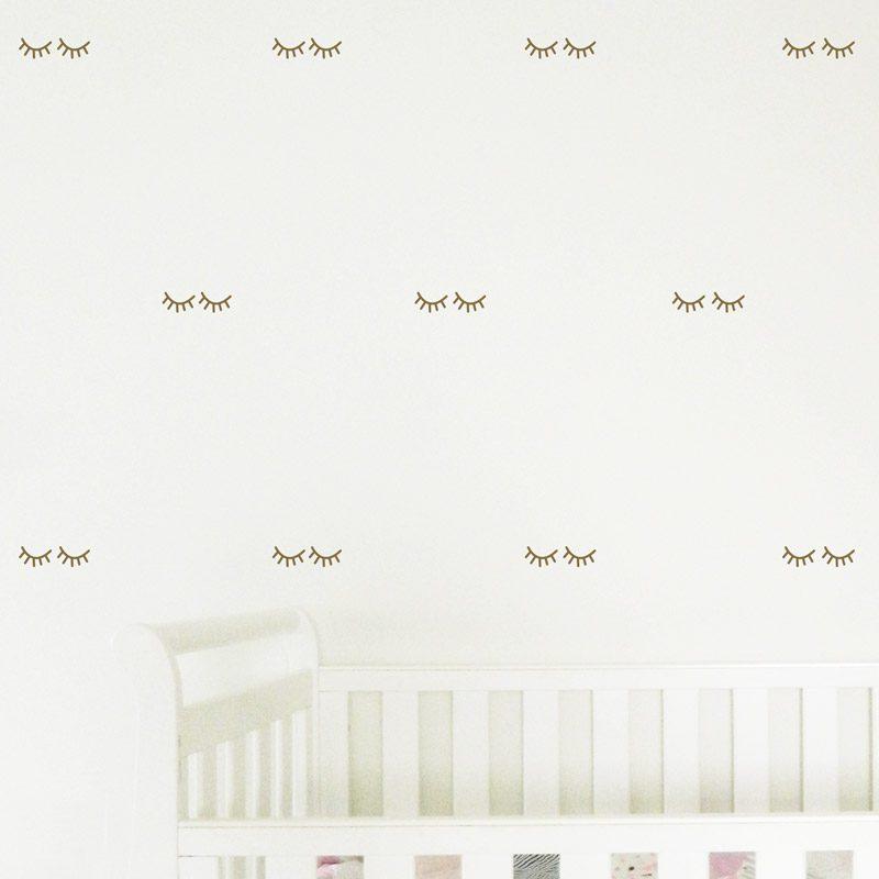 sleepy eyelashes wall decals nursery