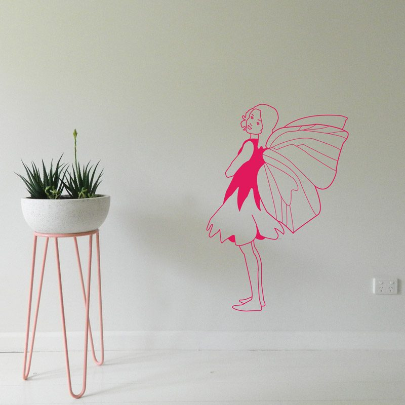 fairy side view pink wall decal