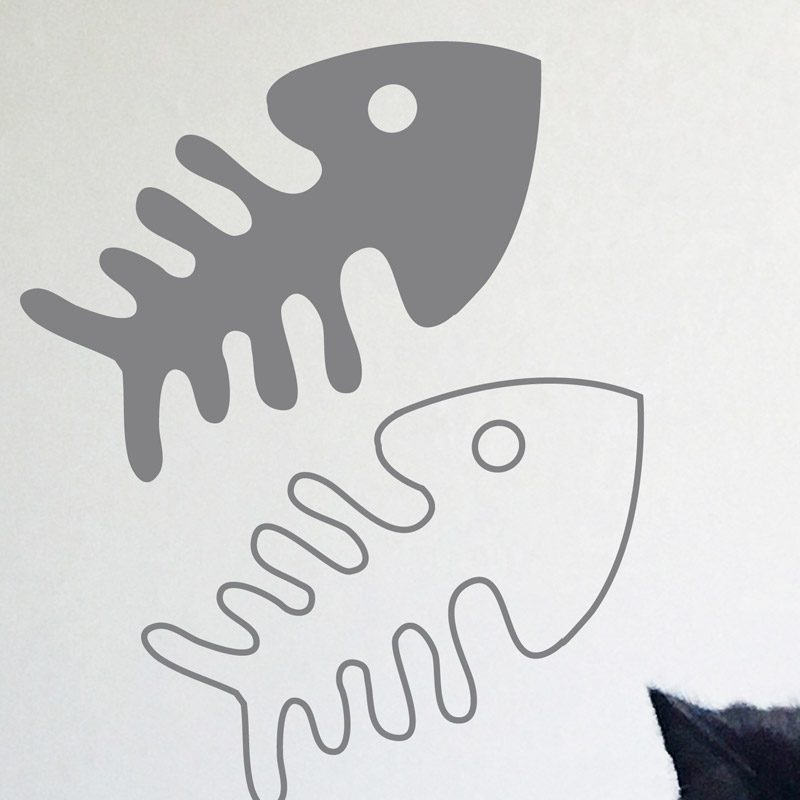 silver fish bones wall decal