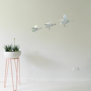 Ducks Wall Sticker 3 ducks flying on wall silver