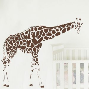 giraffe bending wall sticker in nursery