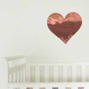reflective mirrored heart wall decal