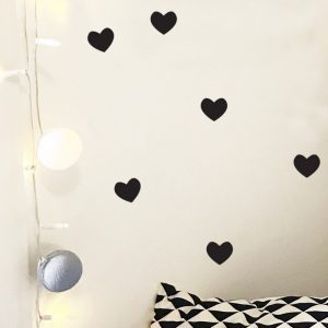 Hearts wall sticker love heart wall decals black