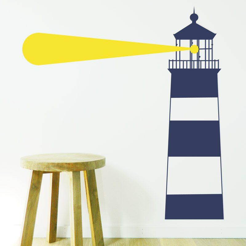lighthouse wall sticker navy blue stripy nautical