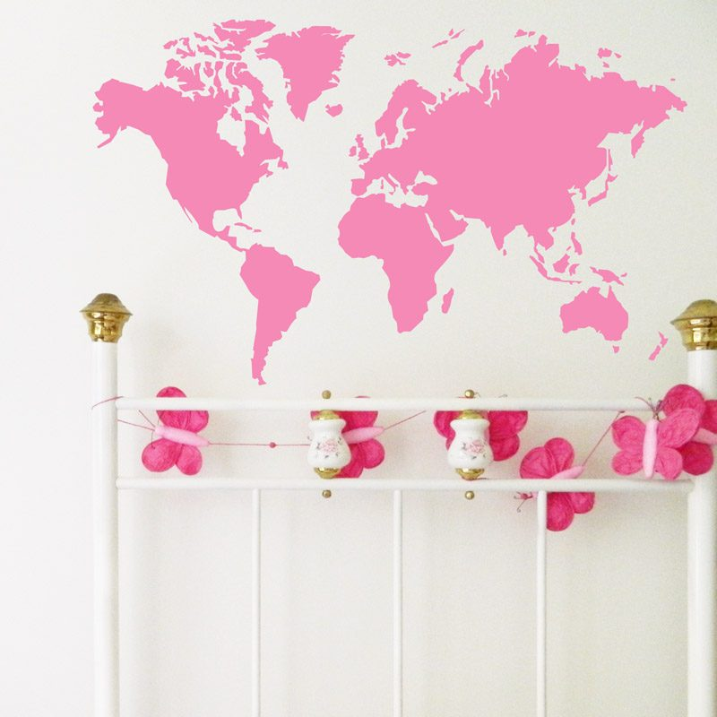 world map wall sticker girls bedroom