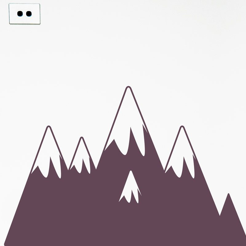 snow topped mountain wall decal purple